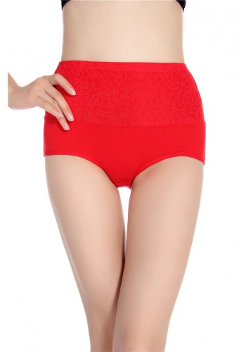 Super Comfortable Cotton High Waist Brief- Red