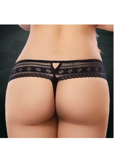 Ultra Soft Lace G String- Black