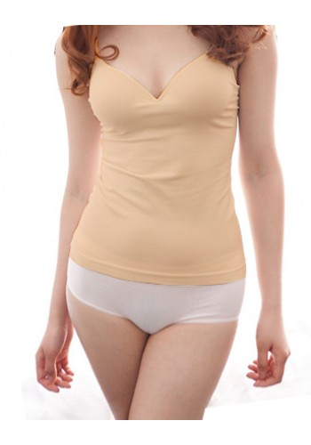 Vest With Bra Pad- Beige