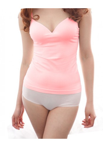 Vest With Bra Pad-  Light Pink