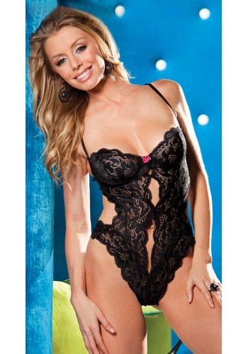 Candy Sweet Underwired Teddy- Black