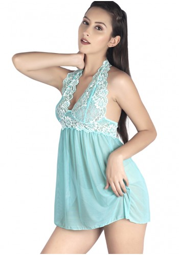8a16f7f0bb8 ... Halter Neck Embroidered Babydoll- Cyan ...
