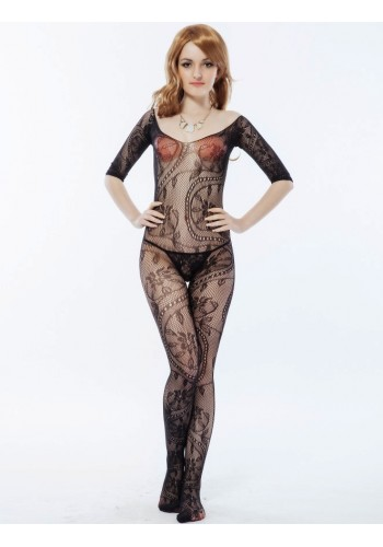 Floral Self Design Bodystocking- Black