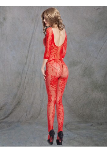Floral Self Design Bodystocking- Red