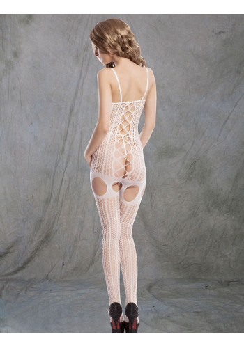 Garter Belt Style Bodystockings- White